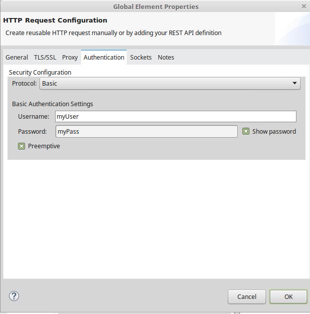 Basic authentication settings