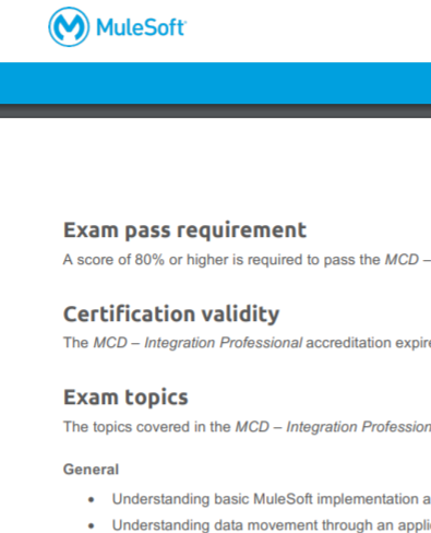 Extract from MuleSoft Certified Developer - Integration Professional Exam Preparation Guide