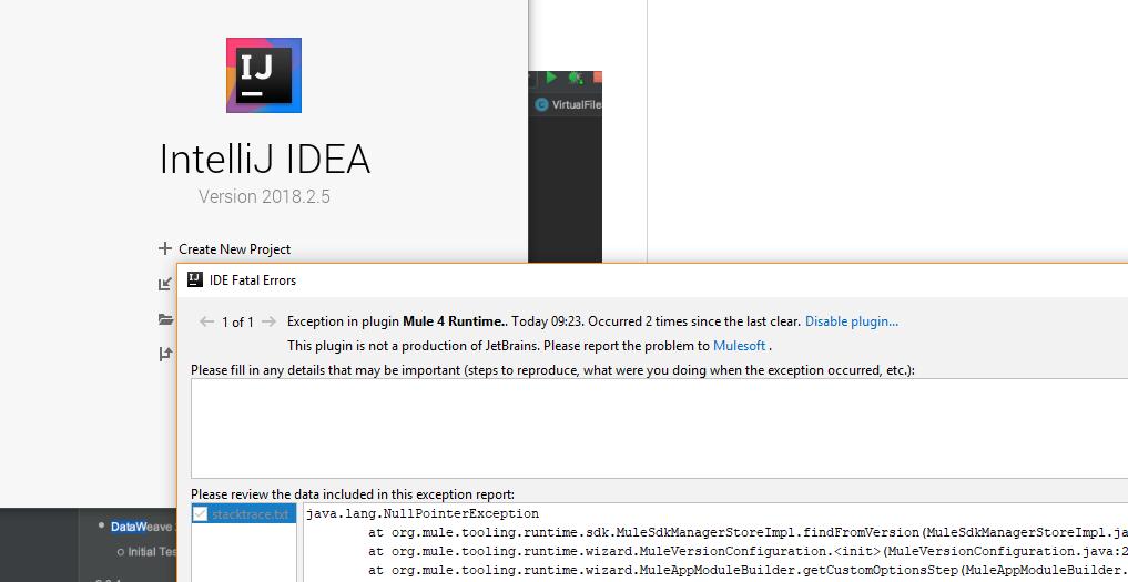 Intellij IDEA plugin's error