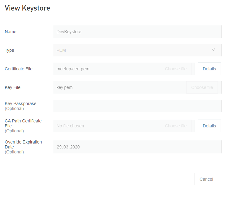 Defining keystore with certificate and private key