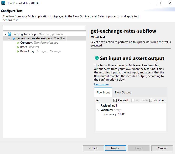 MUnit Test input and output data