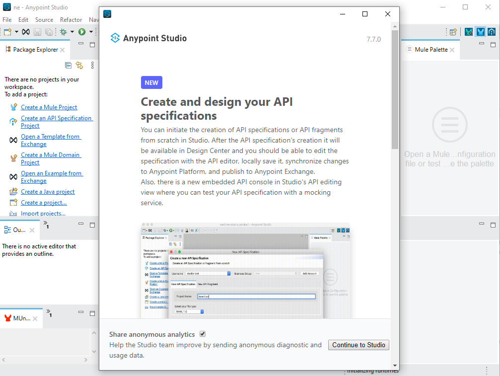 Anypoint Studio 7.7 welcome screen