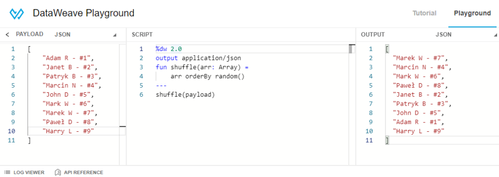 Testing shuffle function using DataWeave playground