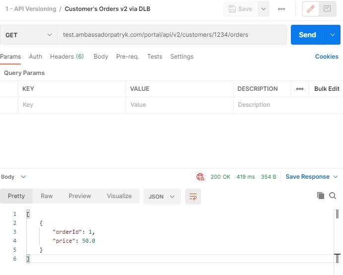 Testing API call via Dedicated Load Balancer