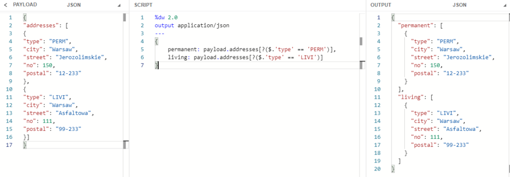 Selecting addresses based on type attribute value